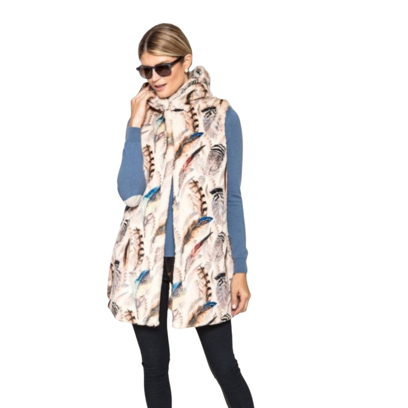 Feather Print Hooded Vest