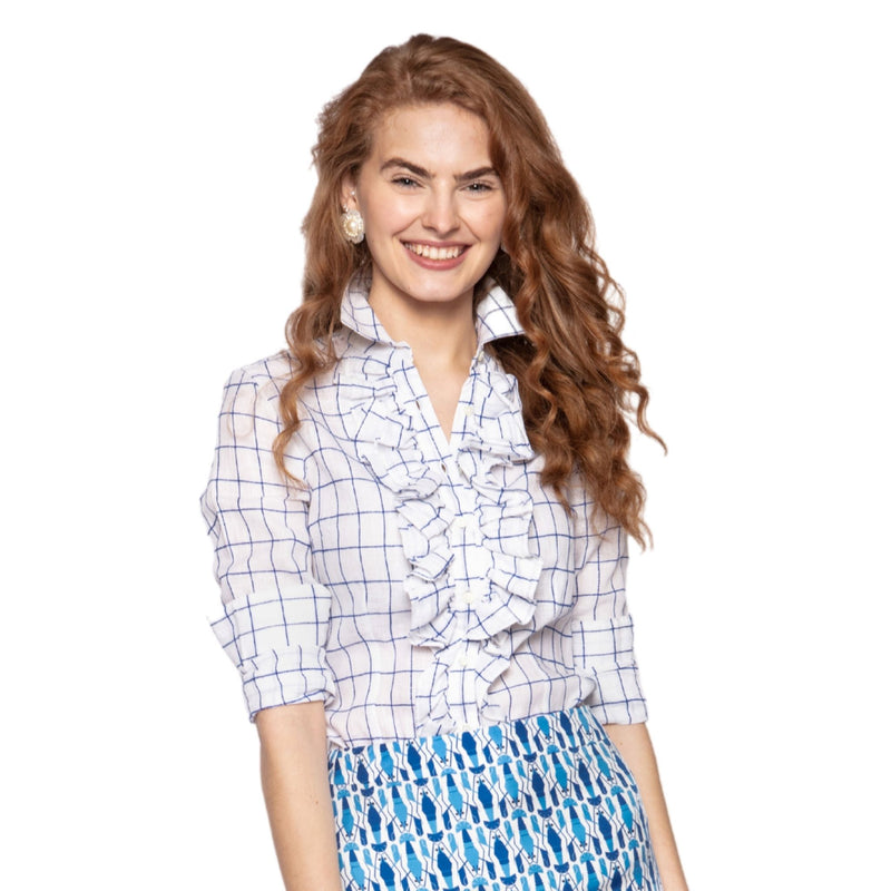 Belinda Blouse in Blue and White Check