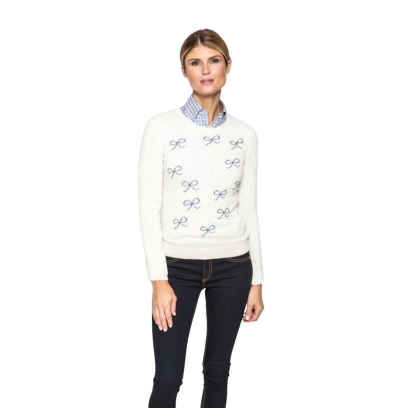 Felicity Sweater in Cream with Blue Bows