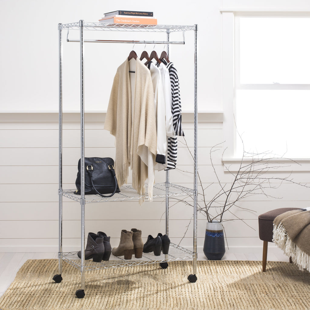"Jane 71"" 3-Tier Garment Rack, Chrome"