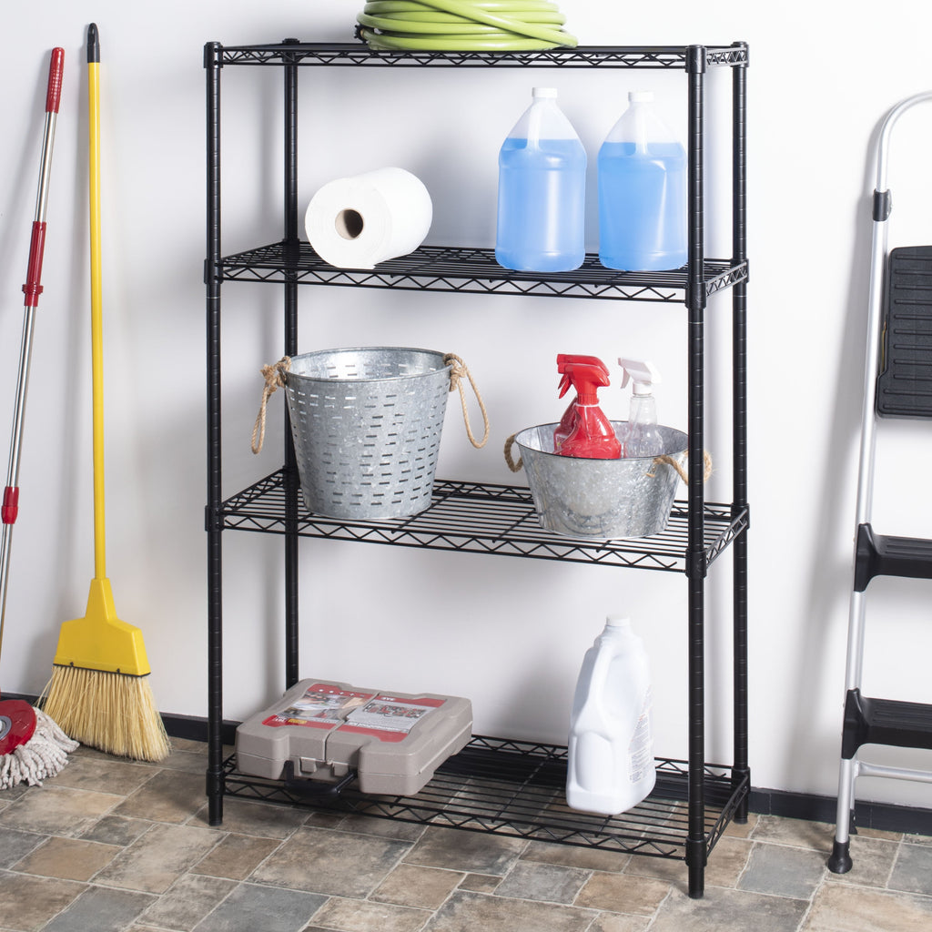 "Ryan 53"" 4-Shelf Wire Rack, Black"