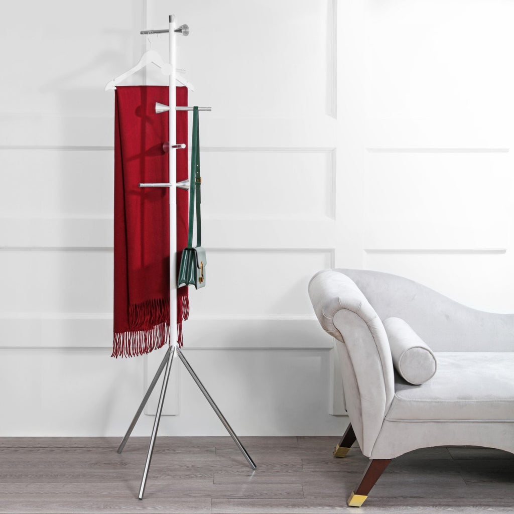 "Aiden 70.4"" 5-Hook Metal Coat Rack, White"