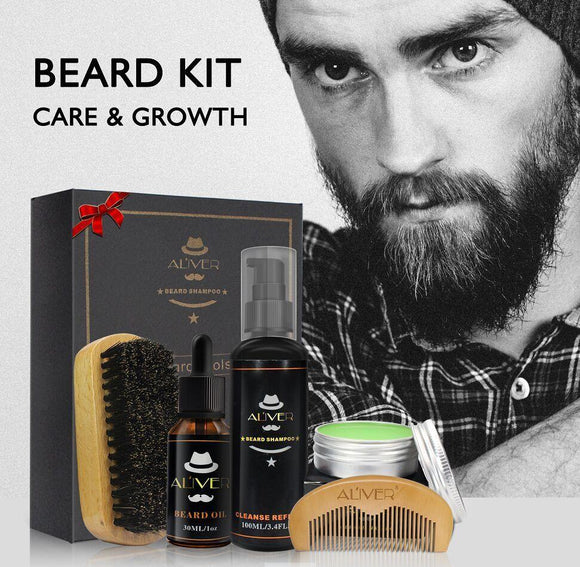 Mens Beard Care Gift Box - includes brushes and care kit
