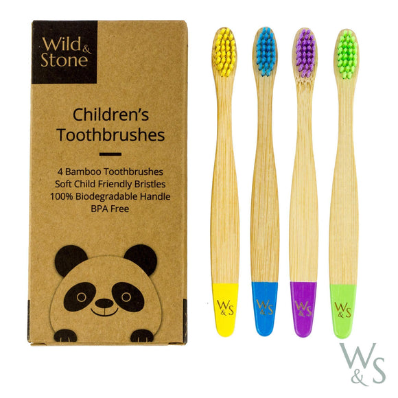 Bamboo Toothbrush - Children's - Soft Bristles - Four Colour - 4 Pack
