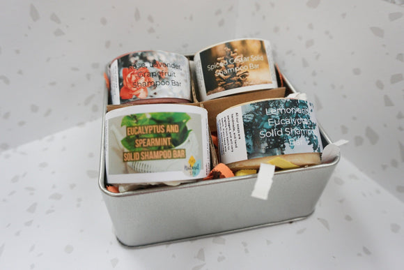 Small Shampoo Collectors Set - 4 x Shampoo Bar and Travel tin