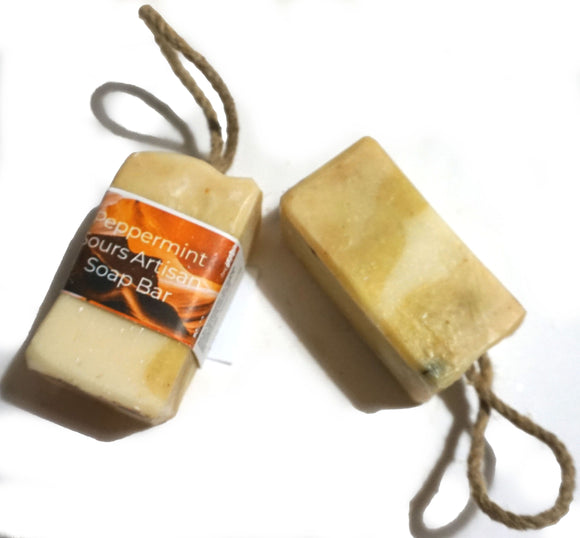 Peppermint Sours, Cold processed soap on a rope,