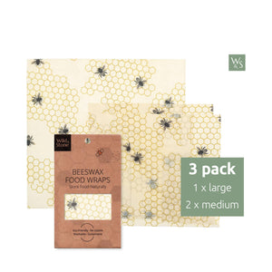 Beeswax Food Wraps - Honeycomb Pattern - 3 Pack (2x Medium, 1x Large)