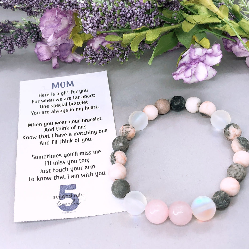 Mother's Day Poem for Mom Rose Quartz Bracelet