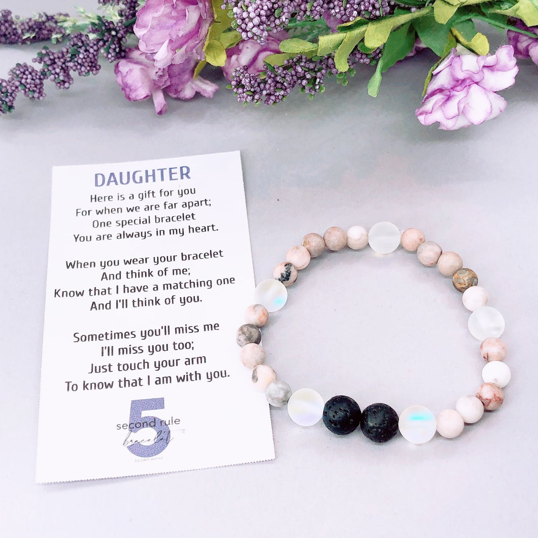 Mother's Day Poem for Daughter Lava Stone Companion Bracelet