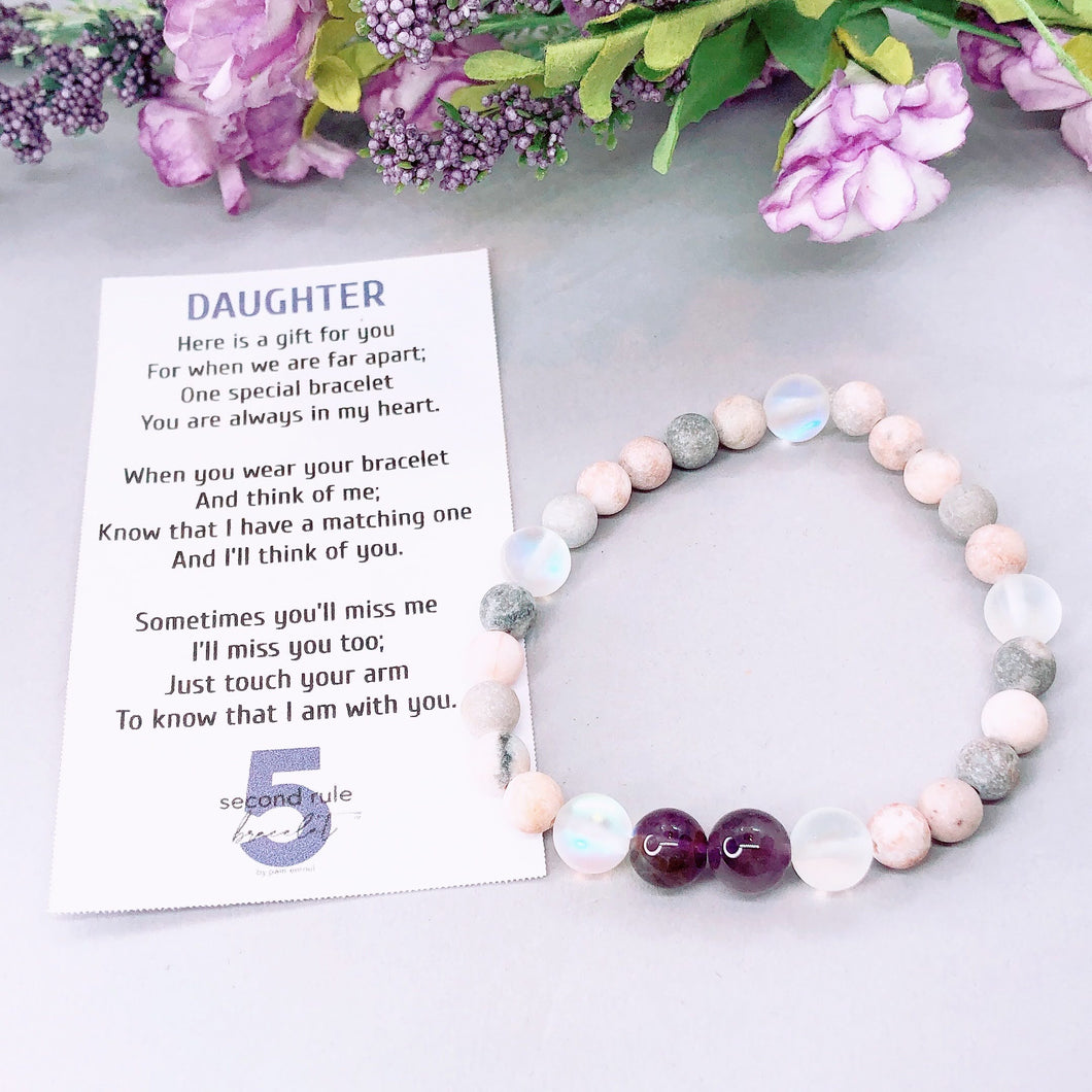 Mother's Day Poem for Daughter Amethyst Companion Bracelet