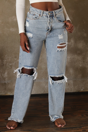CUTTIN' UP DISTRESSED BOYFRIEND JEANS