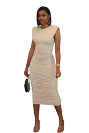 COLD SHOULDER RUCHED MIDI DRESS