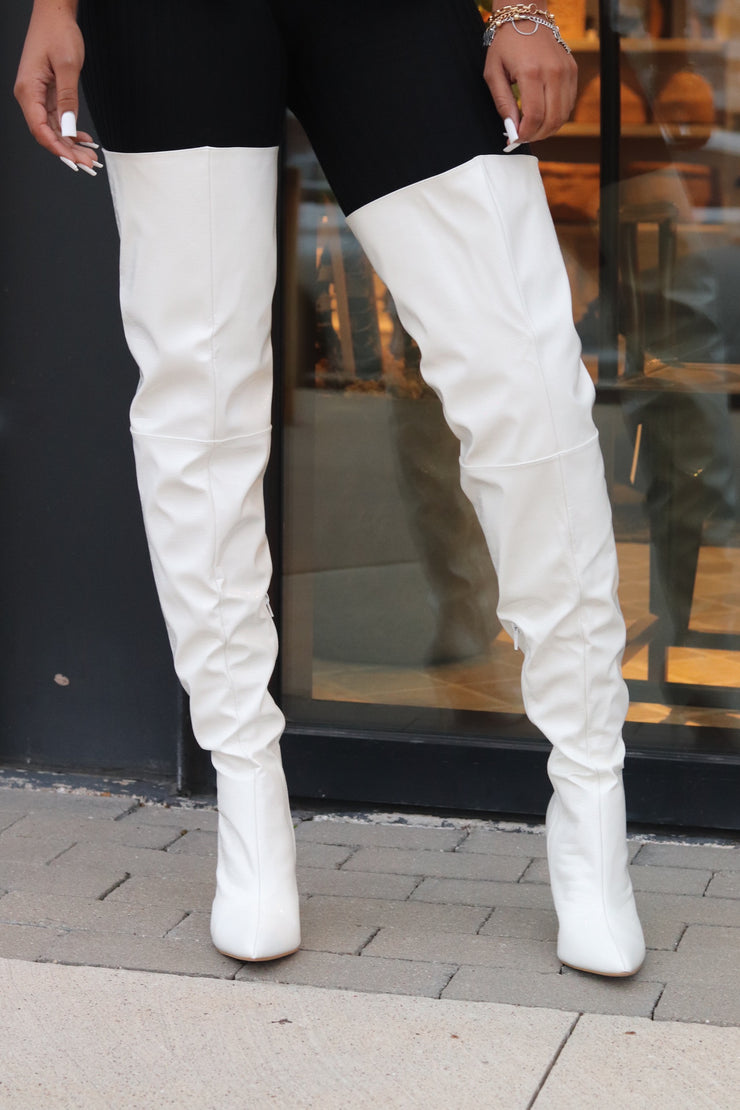 BLANCO CROC PRINT THIGH HIGH BOOTS