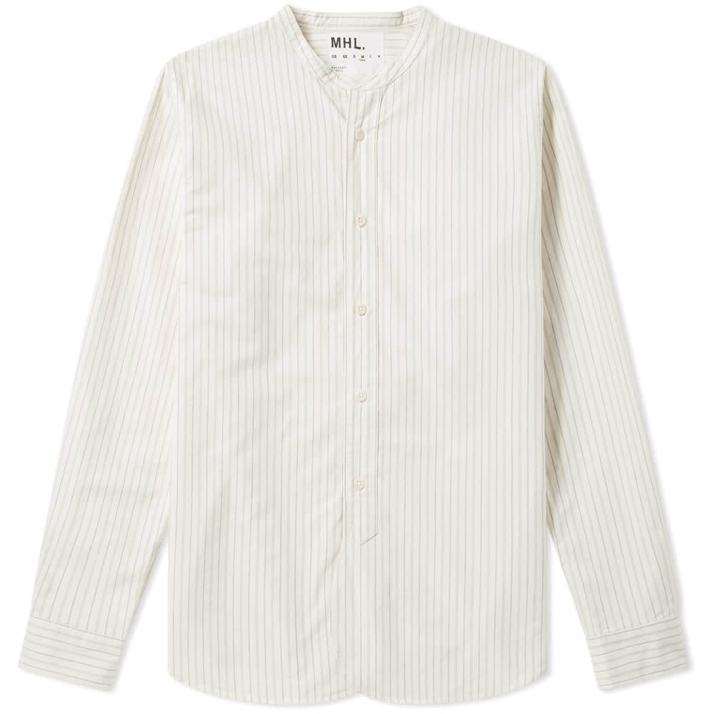 MHL. By Margaret Howell Collarless Shirt Cotton Stripe Off White/Stone