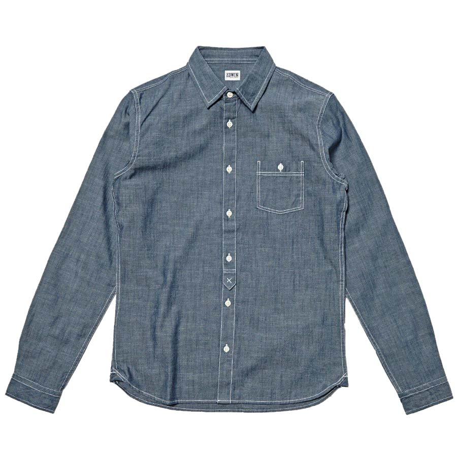 Edwin Simple Shirt Chambray Blue Rinsed