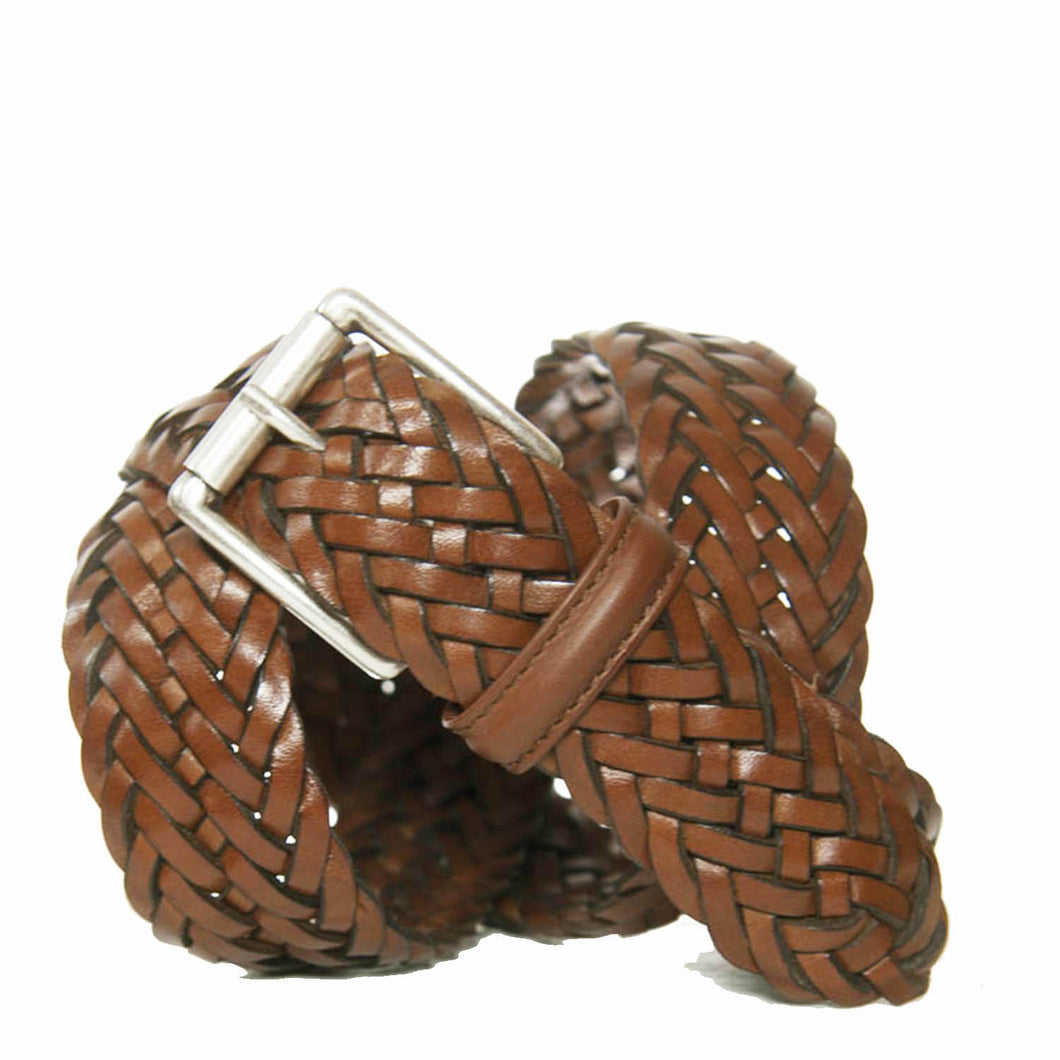 Andersons Classic Woven Leather Belt Tan