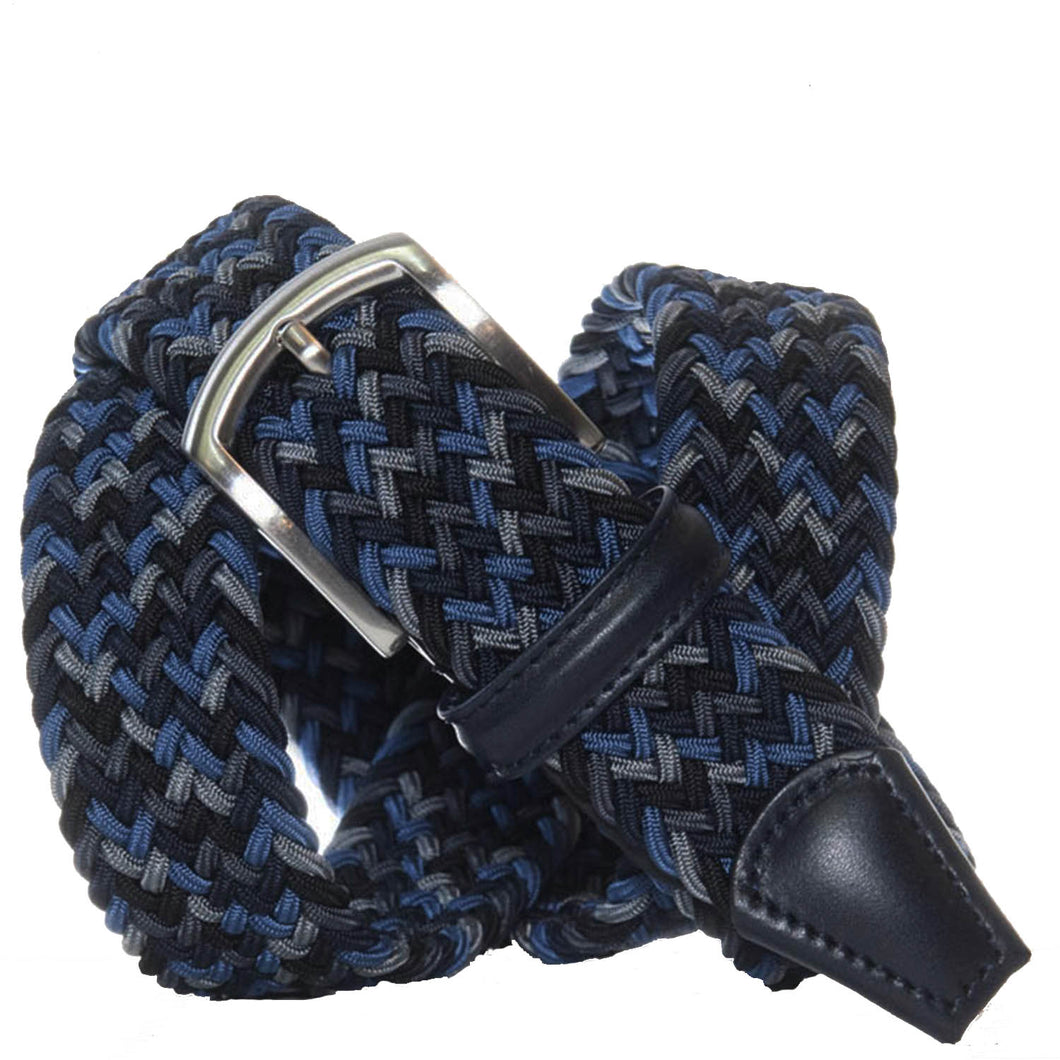 Andersons Classic Elastic Woven Belt Navy/Black/Grey/Blue