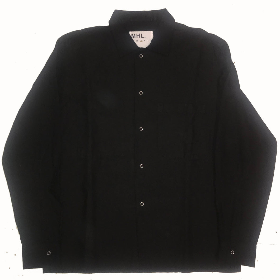 MHL by Margaret Howell Cotton Linen Drill / HHJ Overshirt Off Black