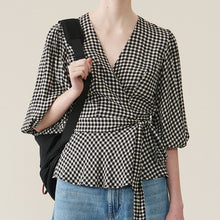 Load image into Gallery viewer, Ganni Printed Crepe Wrap Blouse Black