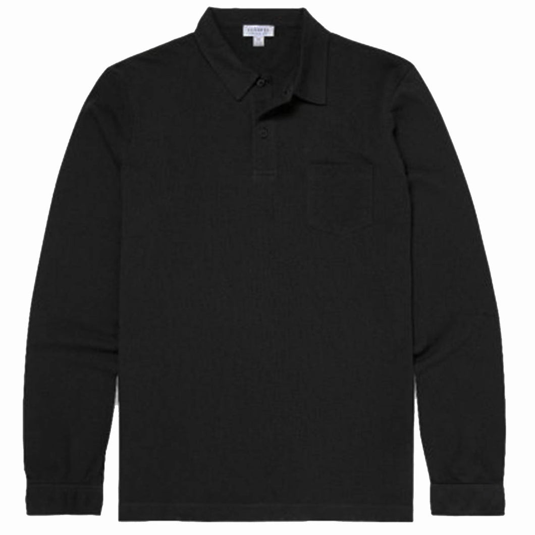 Sunspel Cotton Riviera Long Sleeve Polo Shirt Black