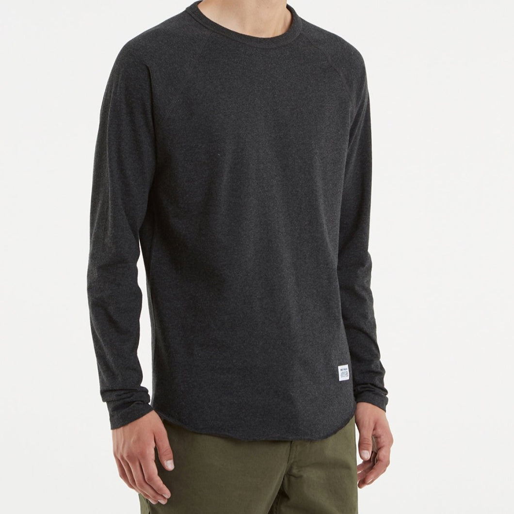 Norse Project Aske Perforated Jersey LS Charcoal Melange