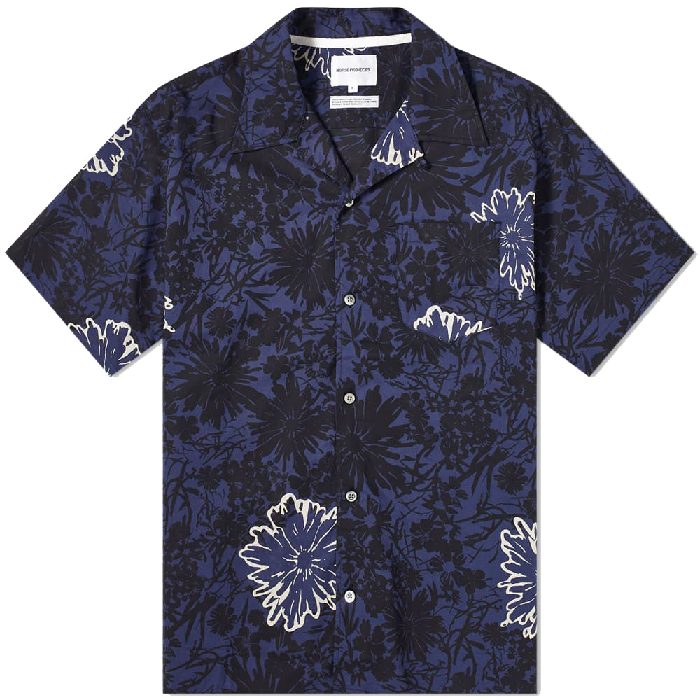 Norse Projects Carsten Flower Print Vacation Shirt Twilight Blue