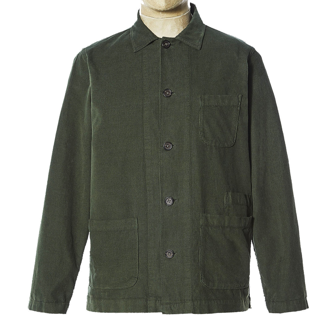 Universal Works Bakers Overshirt Green Fine Cord
