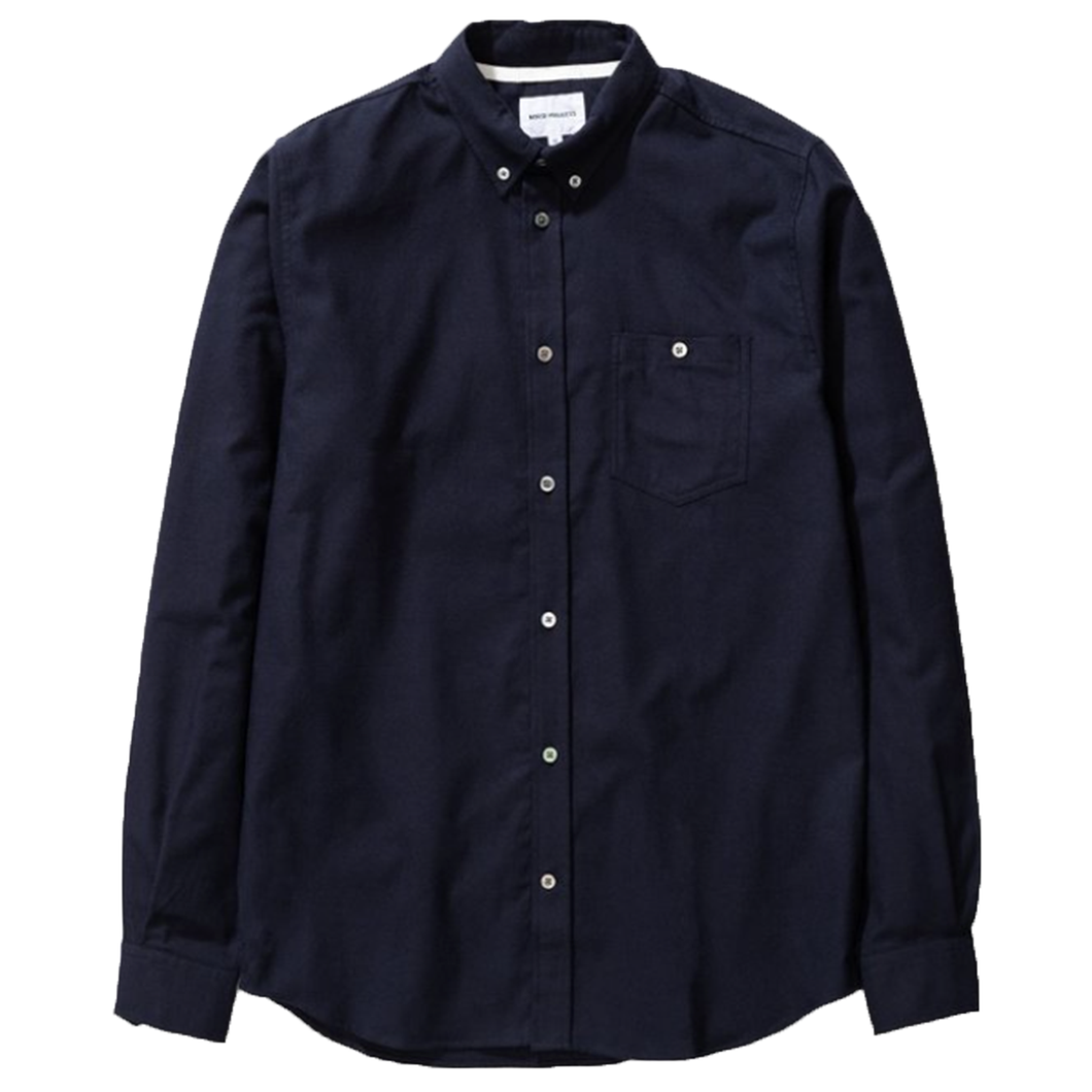 Norse Projects Anton Brushed Flannel Shirt Dark Navy