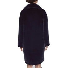 Load image into Gallery viewer, Stand Studio Camille Cocoon Faux-Fur Coat Navy