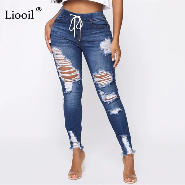Light Blue Ripped Jeans for Women.