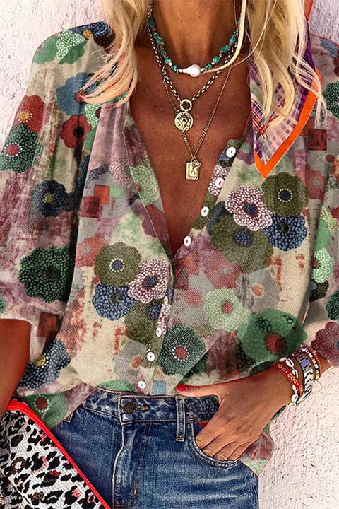 Kayladress Floral Printed Bubble Sleeve Blouse Shirt
