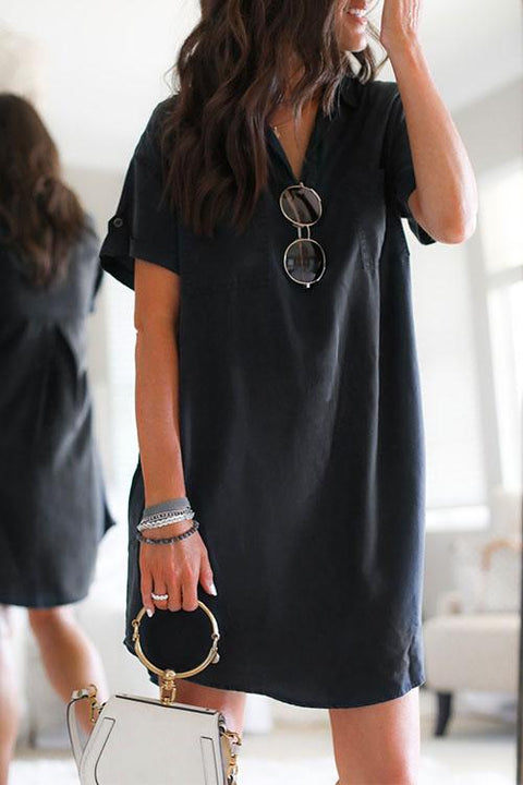 KD Solid Lapel Curve Hem Shirt Dress