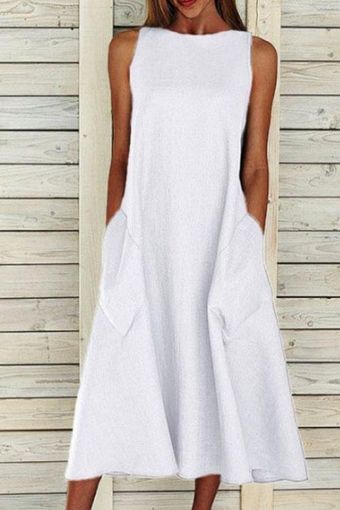 KD Solid Big Pockets Sleeveless Midi Dress