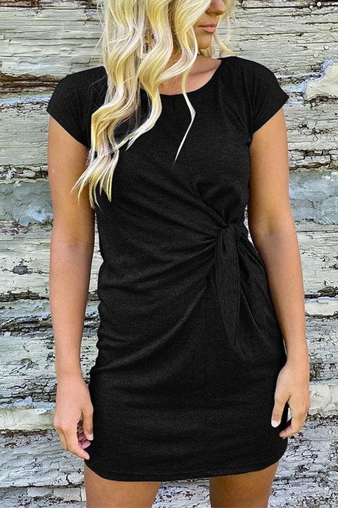 KD Short Sleeve Tie Knot Mini Sundress