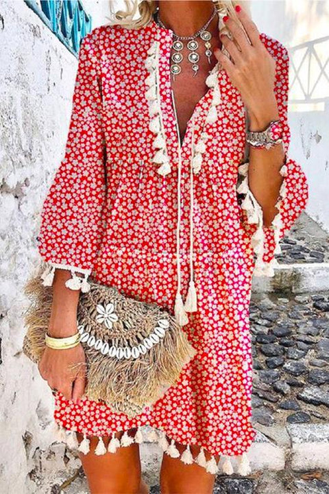 Kayladress V Neck Tassel Floral Swing Beach Dress
