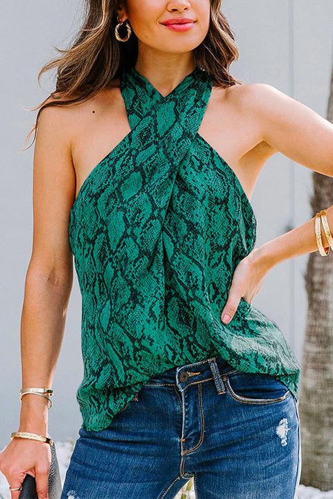 Kayladress Halter Criss Cross Printed Sleeveless Top