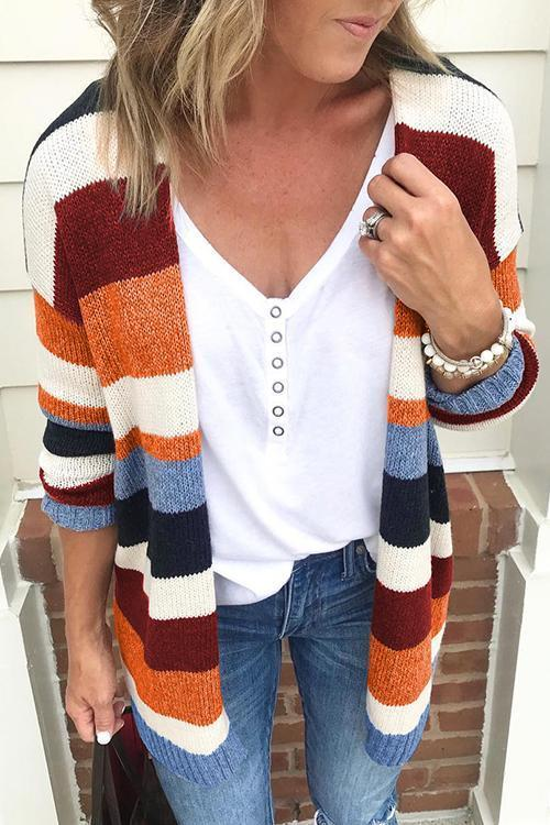 Kayladress Soft Rainbow Striped Open Front Sweater Cardigan