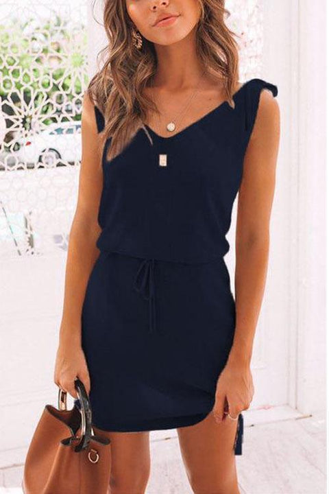 Kayladress Tie Shoulder Summer Drawstring Dress