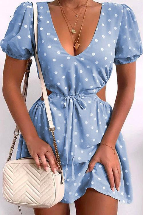 Kayladress V Neck Cut Out Tie Waist Polka Dot Dress