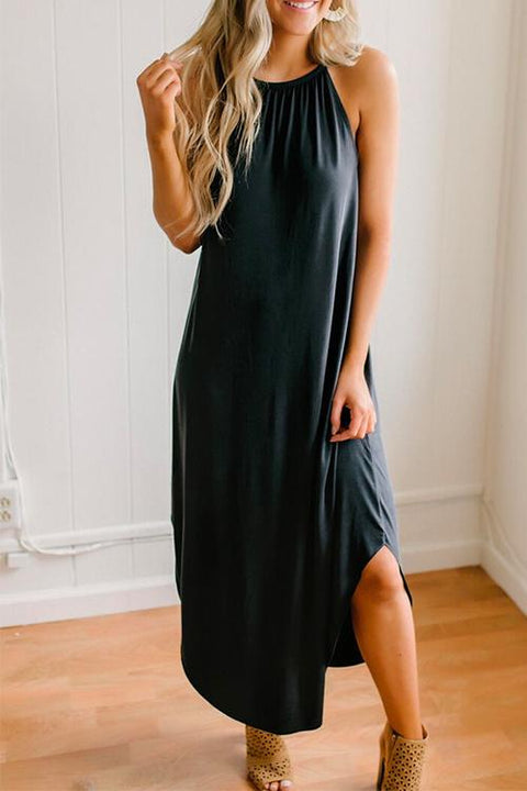 Kayladress Solid Side Split Long Cami Dress
