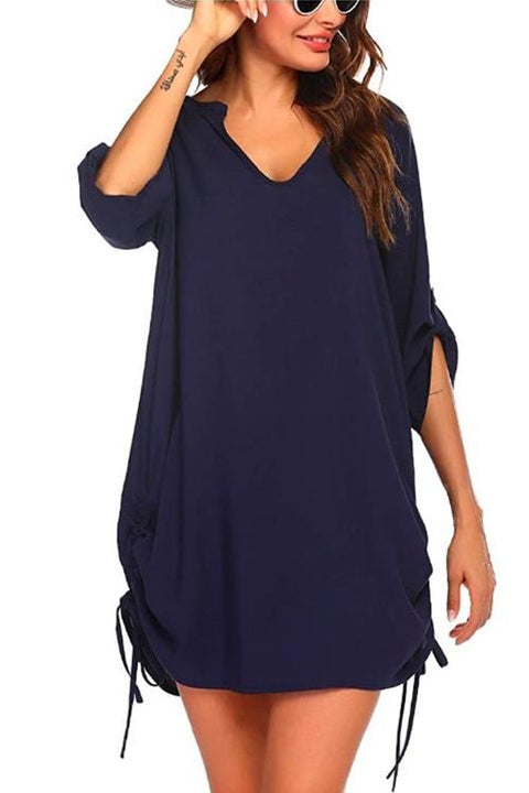 Kayladress V Neck Roll Up Sleeve Side Drawstring Dress