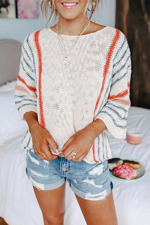 Kayladress 3/4 Sleeve Striped Pullover Sweater