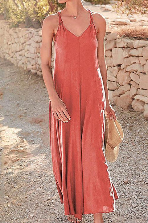 Kayladress Solid V Neck Swing Maxi Cami Dress