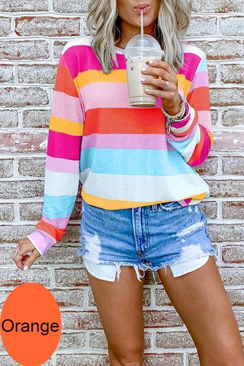Kayladress Candy Striped Long Sleeves Pullover Top