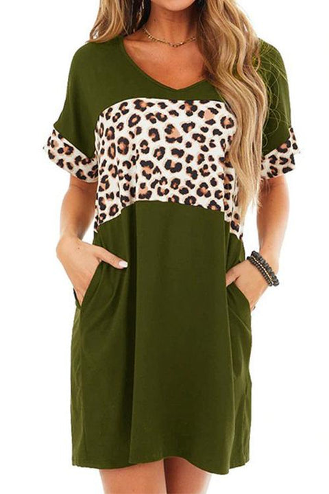 Kayladress Short Sleeve Leopard Splice T Shirt Dress