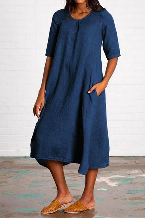 Kayladress Short Sleeve Pockets Cotton Linen Swing Dress