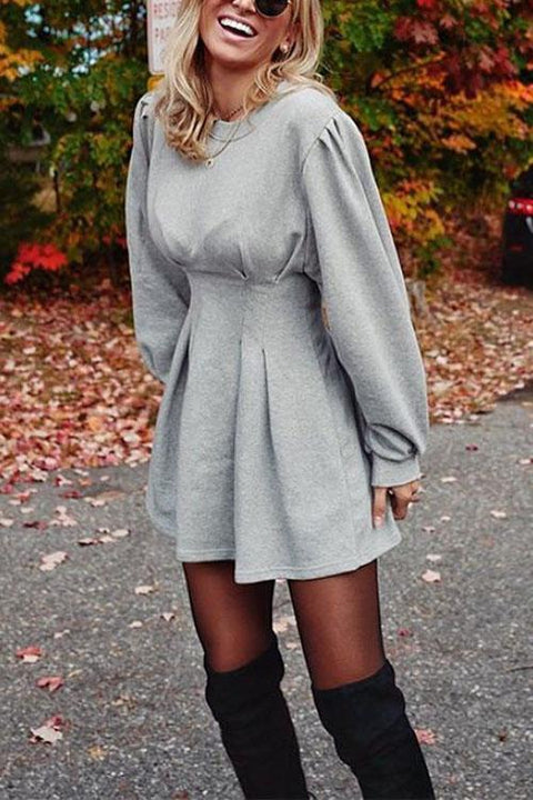 Kayladress Hign Waist Swing Mini Sweatshirt Dress