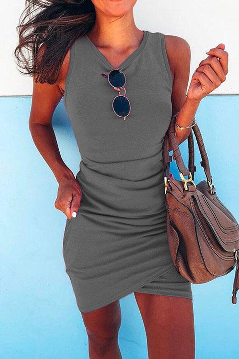 KD Ruched Tulip Hem Sleeveless Bodycon Dress