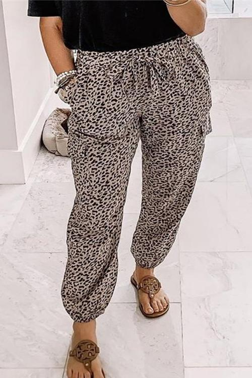 Kayladress Leopard Tie Knot Casual Pants with Pockets