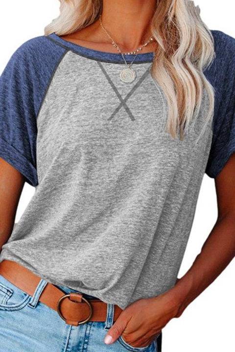 Kayladress Color Block Side Split Basic T-shirt